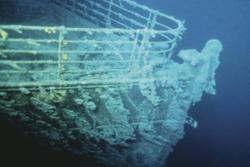 The bow of the Titanic: A picture of the bow of the Titanic 2.5 miles below the ocean's surface.