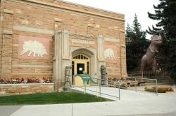 University of Wyoming Geological Museum: S. H. Knight's Tyrannosaurus sculture stands near the museum entrance.