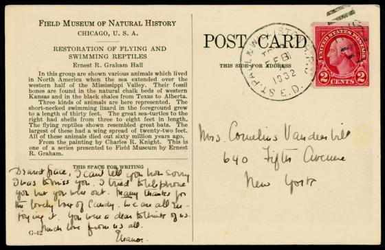 Reverse of Field Museum postcard