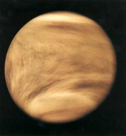 Where's the lightning?: I can't see any lightning in this picture, but recent magnetic antenna data shows that Venus has regular lightning flashes in its dense atmosphere.