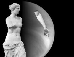 Planetary aberation: The goddess Venus helps point out the strange spot discovered on her namesake planet.