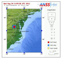 Location of East Coast earthquake