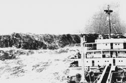 Watch that wave:: This historical photo gives a little feel for what a freak wave might be able to do to a ship. An actual freak wave would be taller, ranging in height from 90 to 140 feet high.