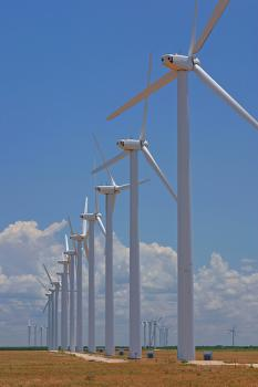Wind farms produce clean energy, but some people consider them eyesores: Photo by fieldsbh at Flickr.com