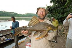 Newly discovered wood-eating catfish: held by Paulo Petry.