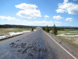 Hot tracks: Portions of the Firehole Lake Drive in Yellowstone National Park have melted from underground thermals that have released heat to the surface.