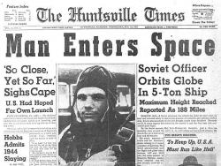 It's lonely out in space / on such a timeless flight: It was 47 years ago today that Lt. Gagarin rode a rocket ship into history, burning out his fuse up here alone.
